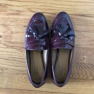 Bass cherry red patent tassel loafers 6.5